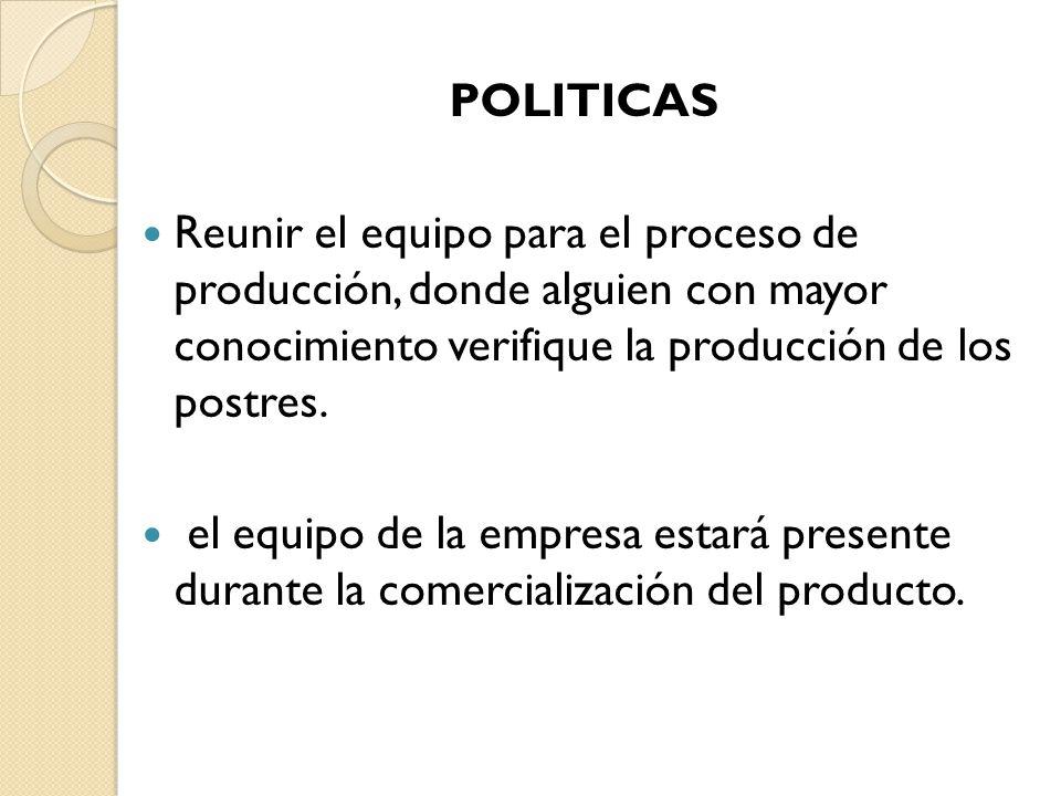 POLITICAS. Reunir el equipo para el proceso de producción, donde alguien con mayor conocimiento verifique la producción de los postres.