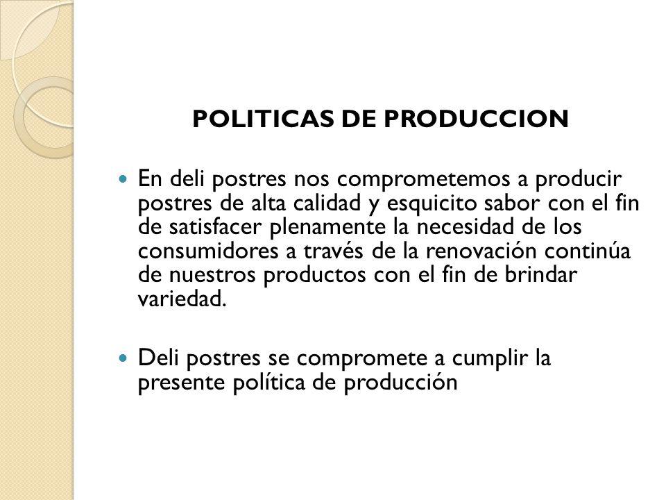 POLITICAS DE PRODUCCION