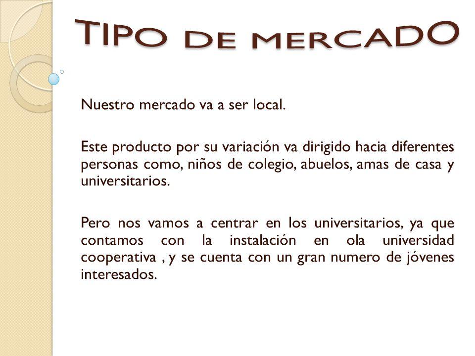TIPO DE MERCADO Nuestro mercado va a ser local.