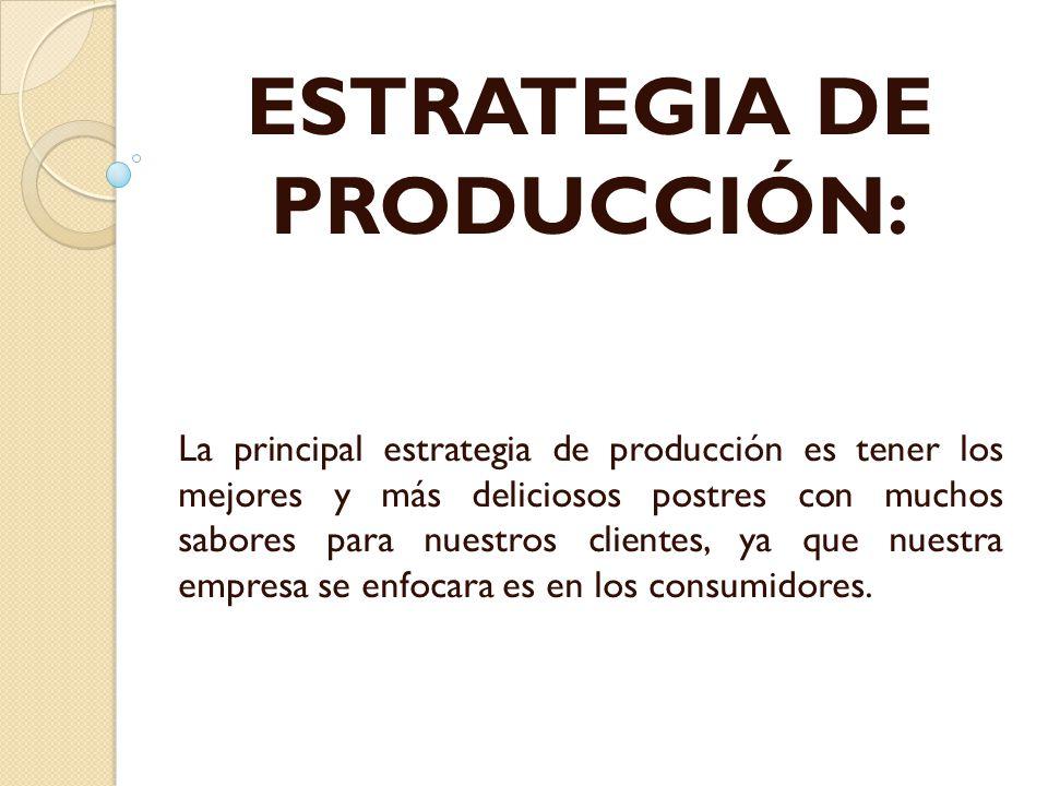 ESTRATEGIA DE PRODUCCIÓN: