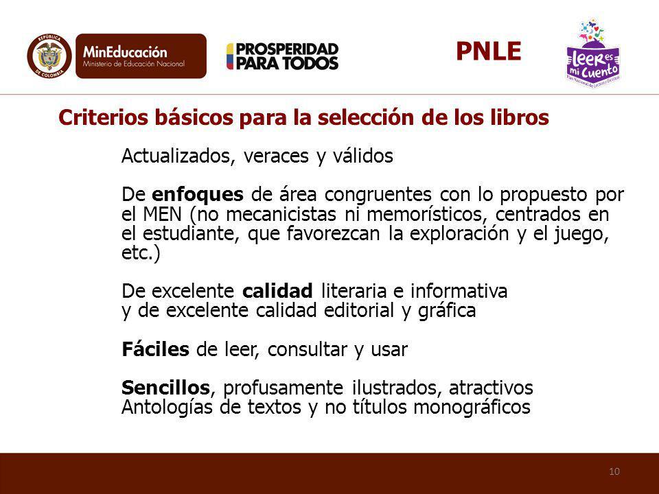PNLE Criterios básicos para la selección de los libros