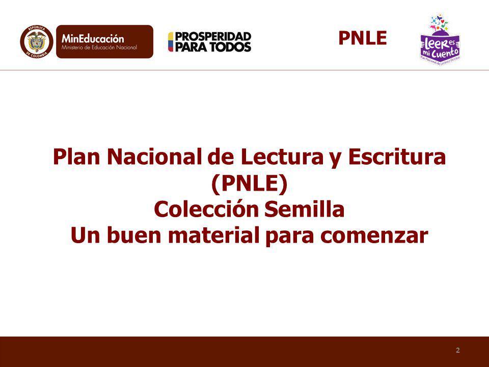 PNLE Plan Nacional de Lectura y Escritura (PNLE) Colección Semilla Un buen material para comenzar. PNLE «Leer es mi cuento»