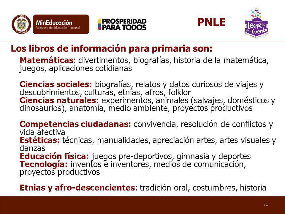 PNLE Los libros de información para primaria son: