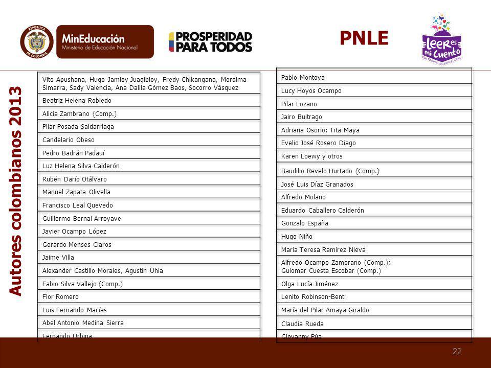 PNLE Autores colombianos 2013 Pablo Montoya Lucy Hoyos Ocampo