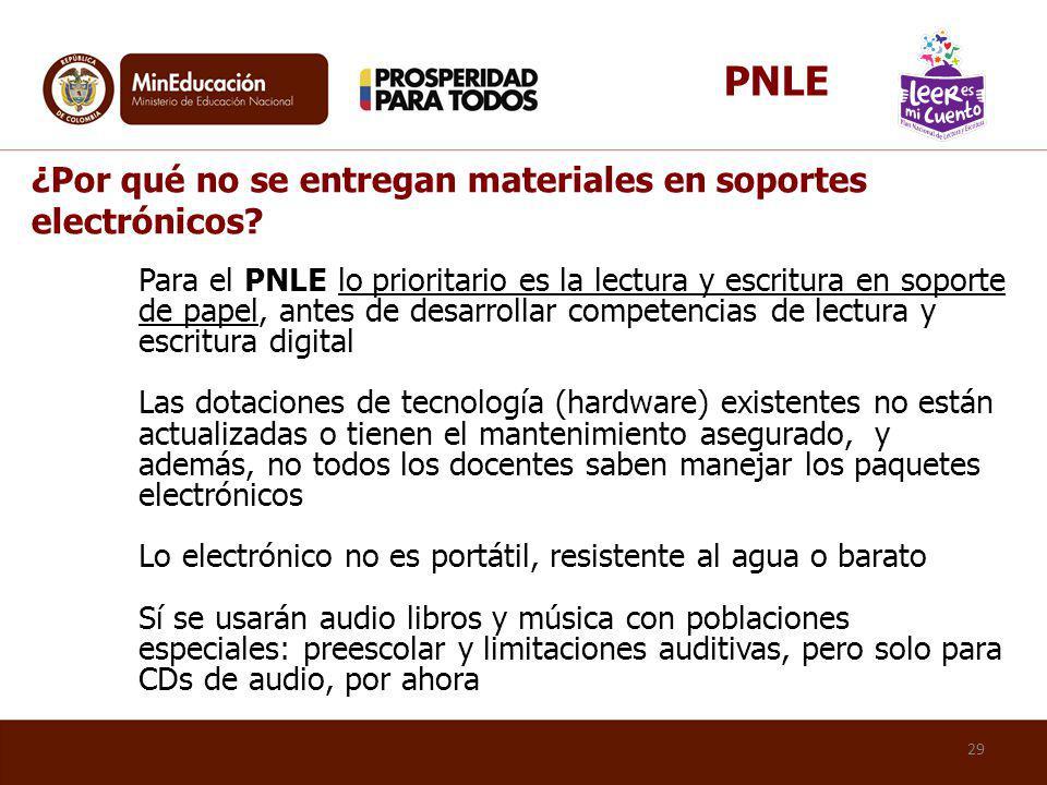 PNLE ¿Por qué no se entregan materiales en soportes electrónicos