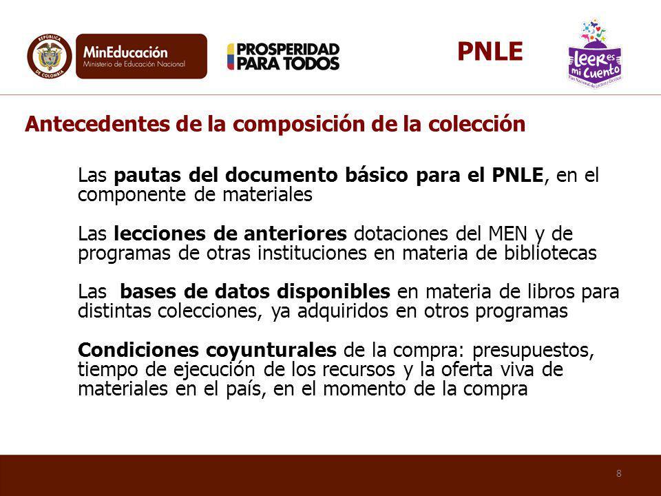 PNLE Antecedentes de la composición de la colección