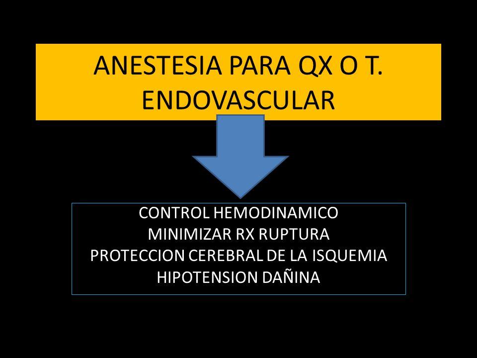ANESTESIA PARA QX O T. ENDOVASCULAR