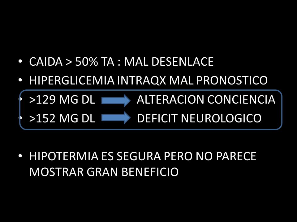 CAIDA > 50% TA : MAL DESENLACE