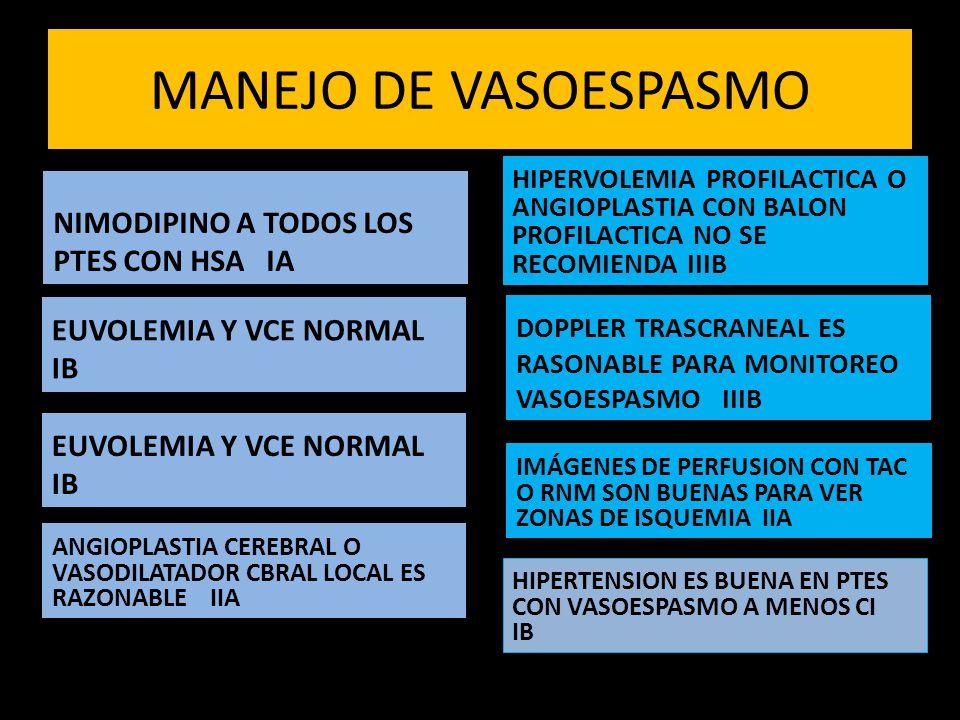MANEJO DE VASOESPASMO NIMODIPINO A TODOS LOS PTES CON HSA IA