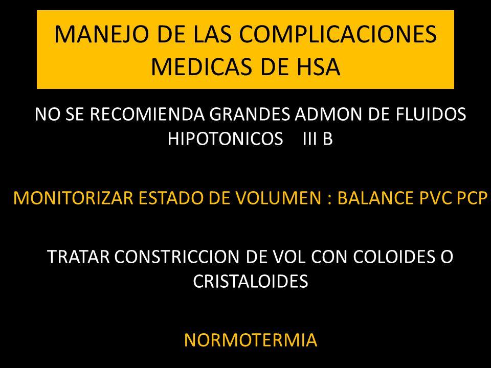 MANEJO DE LAS COMPLICACIONES MEDICAS DE HSA