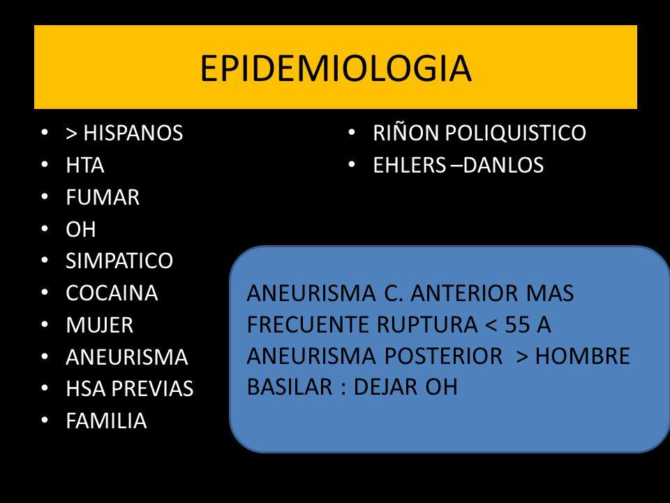 EPIDEMIOLOGIA ANEURISMA C. ANTERIOR MAS FRECUENTE RUPTURA < 55 A