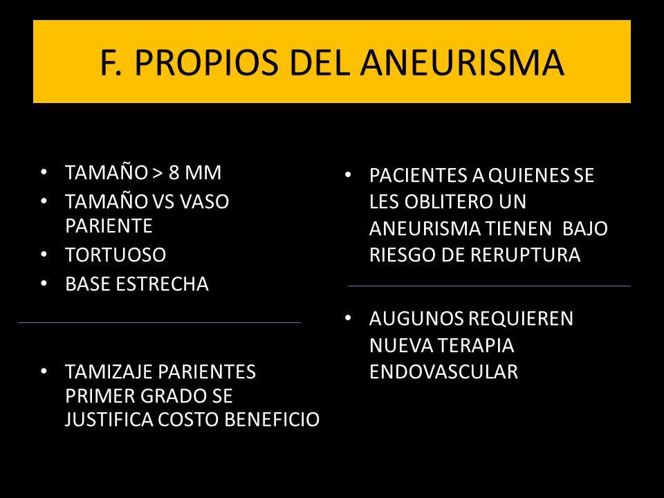 F. PROPIOS DEL ANEURISMA