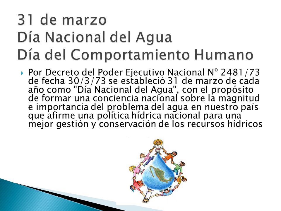 31 de marzo Día Nacional del Agua Día del Comportamiento Humano