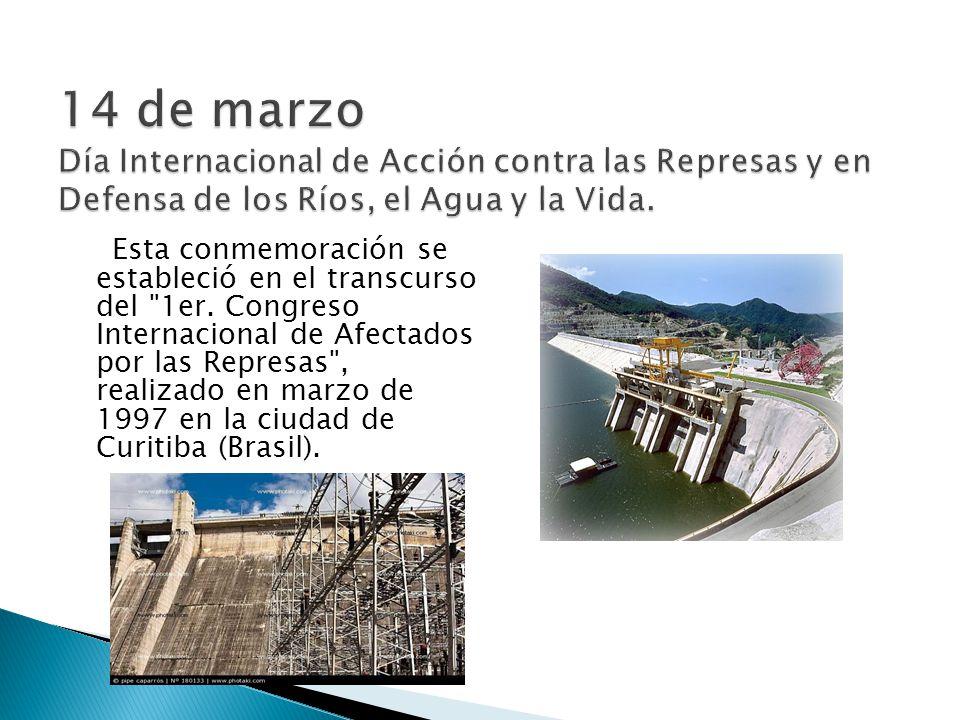 14 de marzo Día Internacional de Acción contra las Represas y en Defensa de los Ríos, el Agua y la Vida.