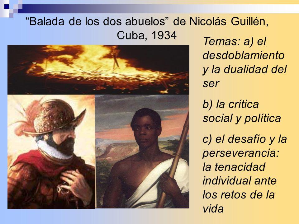 Balada de los dos abuelos de Nicolás Guillén, Cuba, 1934