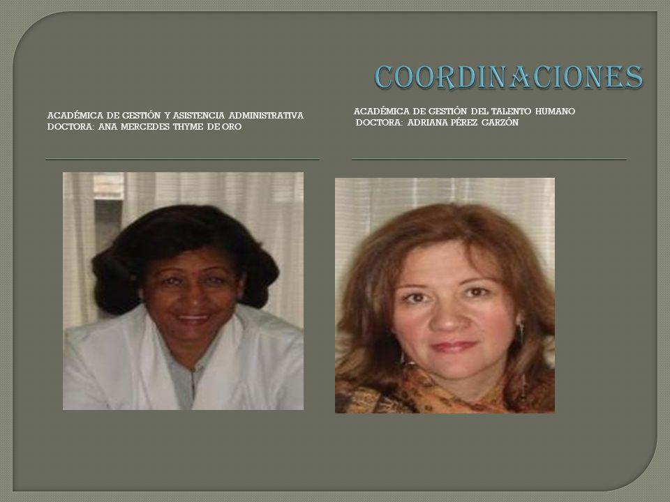 COORDINACIONES Académica de Gestión del Talento Humano DOCTORA: Adriana Pérez Garzón.