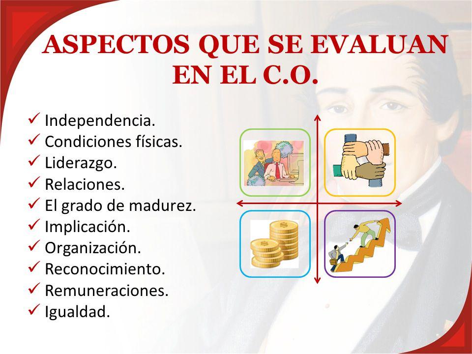 ASPECTOS QUE SE EVALUAN EN EL C.O.