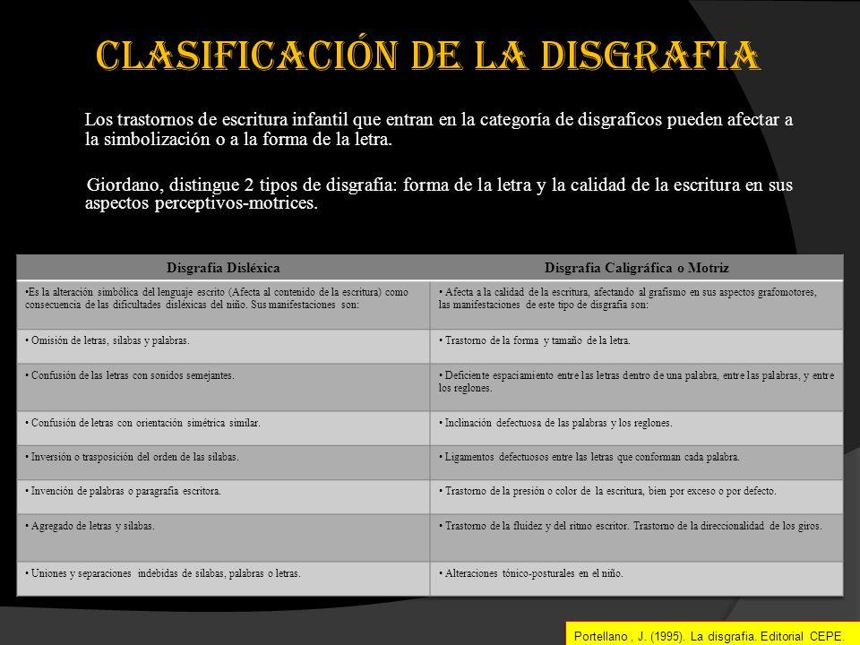 clasificación DE la disGRAFIA