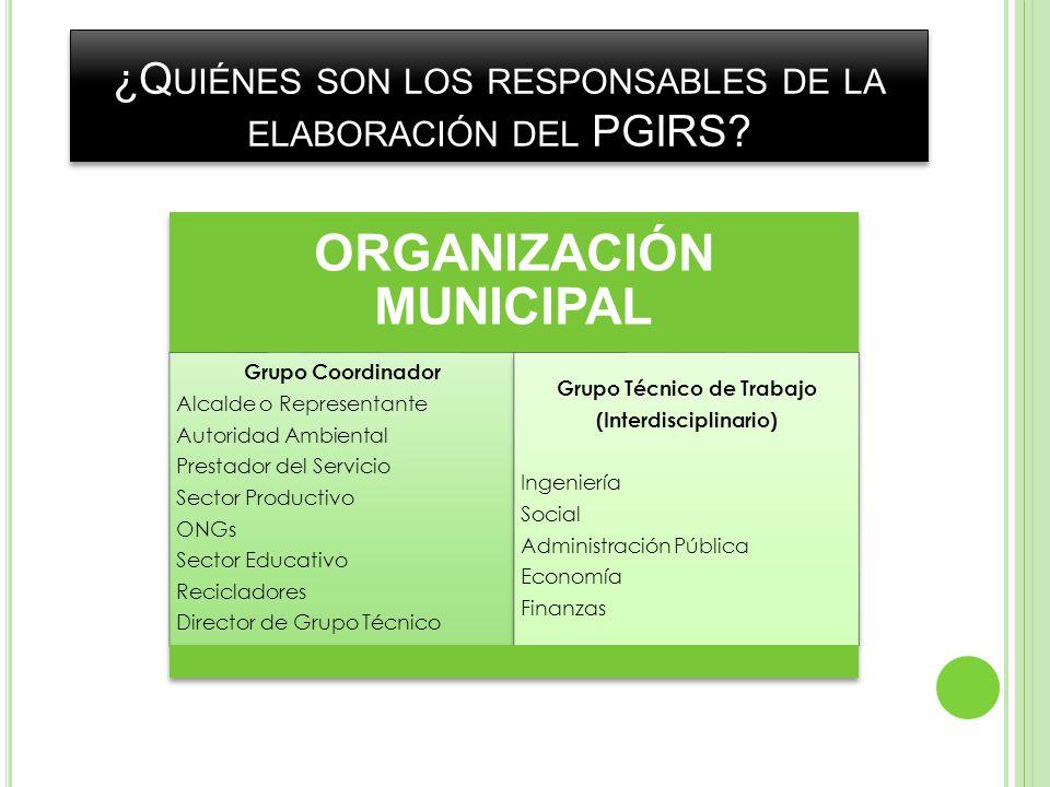 ¿Quiénes son los responsables de la elaboración del PGIRS