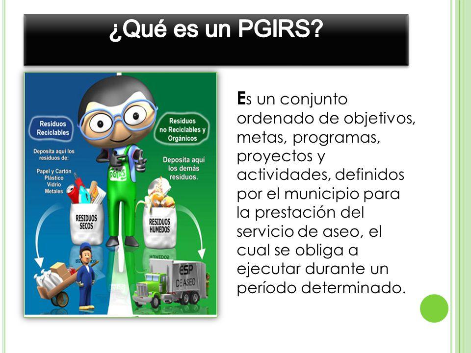 ¿Qué es un PGIRS Es un conjunto ordenado de objetivos, metas, programas,