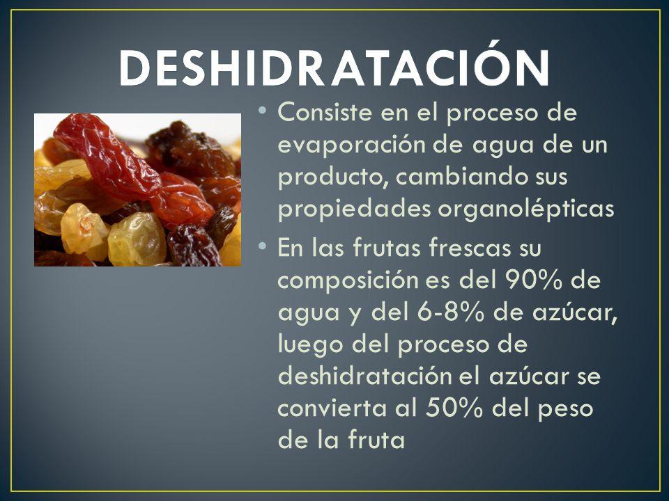 DESHIDRATACIÓN Consiste en el proceso de evaporación de agua de un producto, cambiando sus propiedades organolépticas.