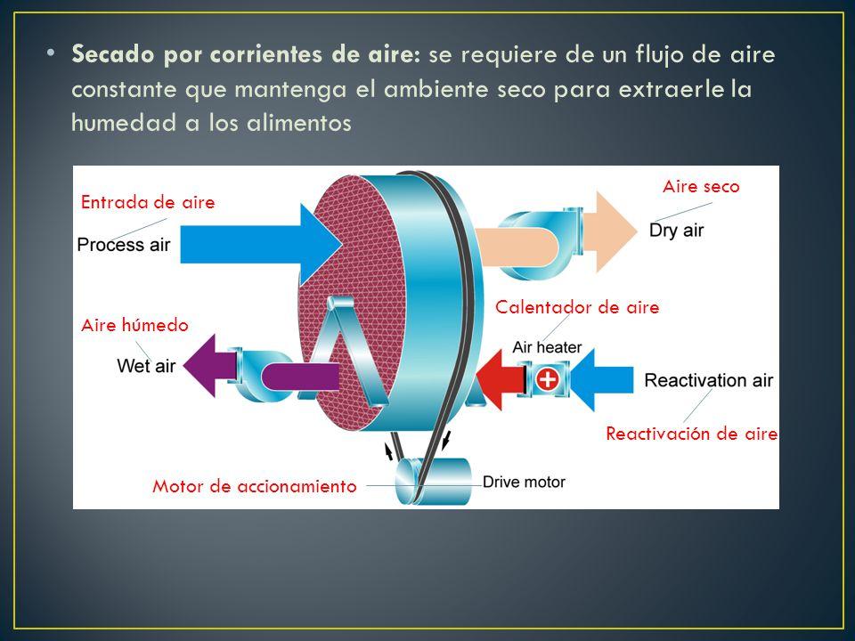Secado por corrientes de aire: se requiere de un flujo de aire constante que mantenga el ambiente seco para extraerle la humedad a los alimentos