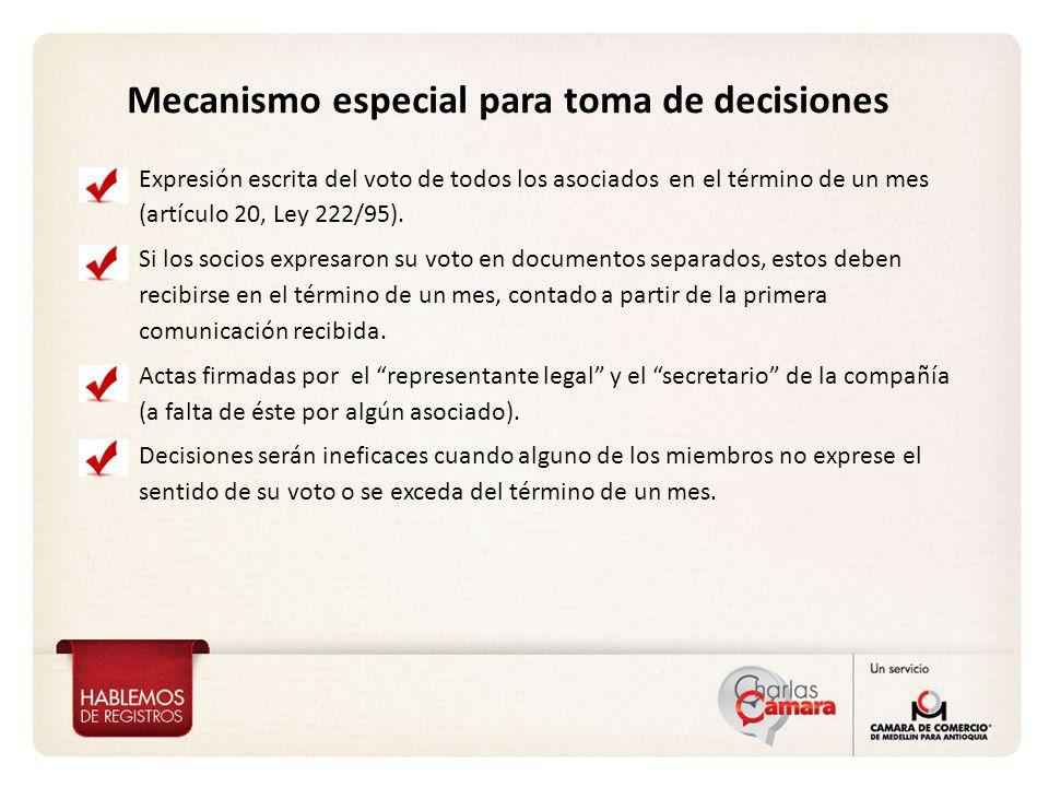 Mecanismo especial para toma de decisiones