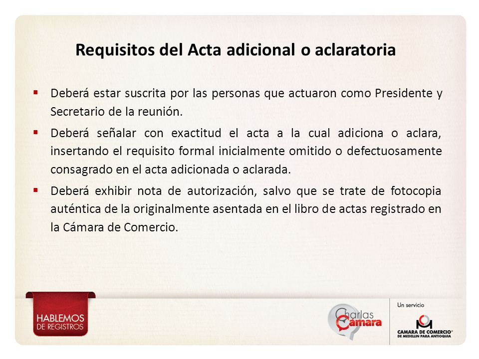 Requisitos del Acta adicional o aclaratoria