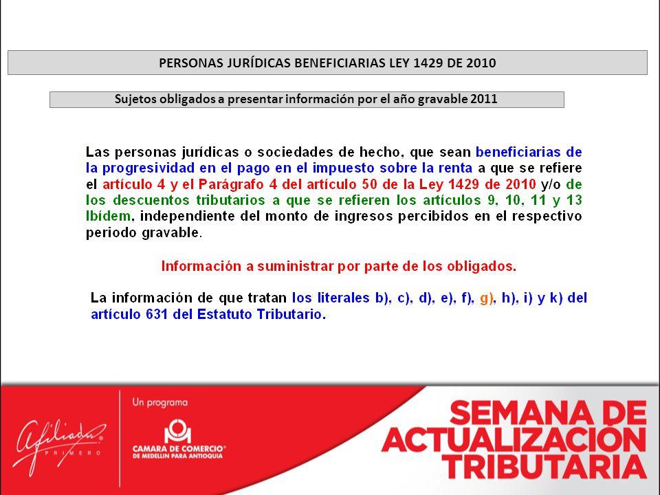 PERSONAS JURÍDICAS BENEFICIARIAS LEY 1429 DE 2010