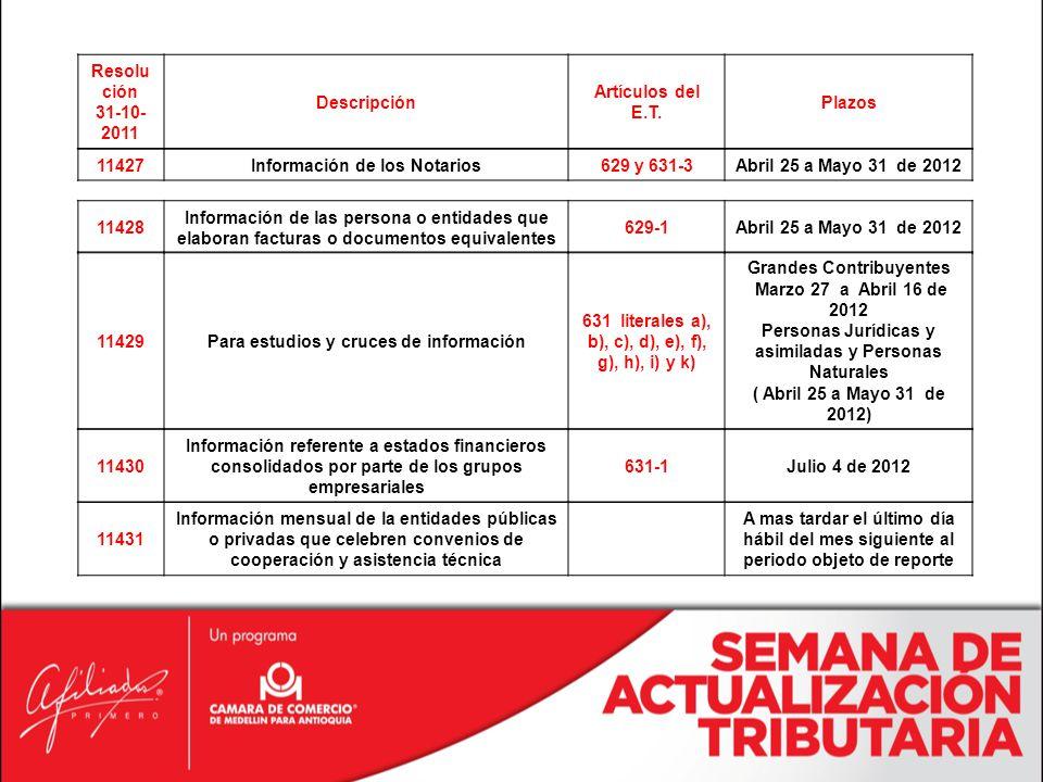 Información de los Notarios 629 y 631-3 Abril 25 a Mayo 31 de 2012
