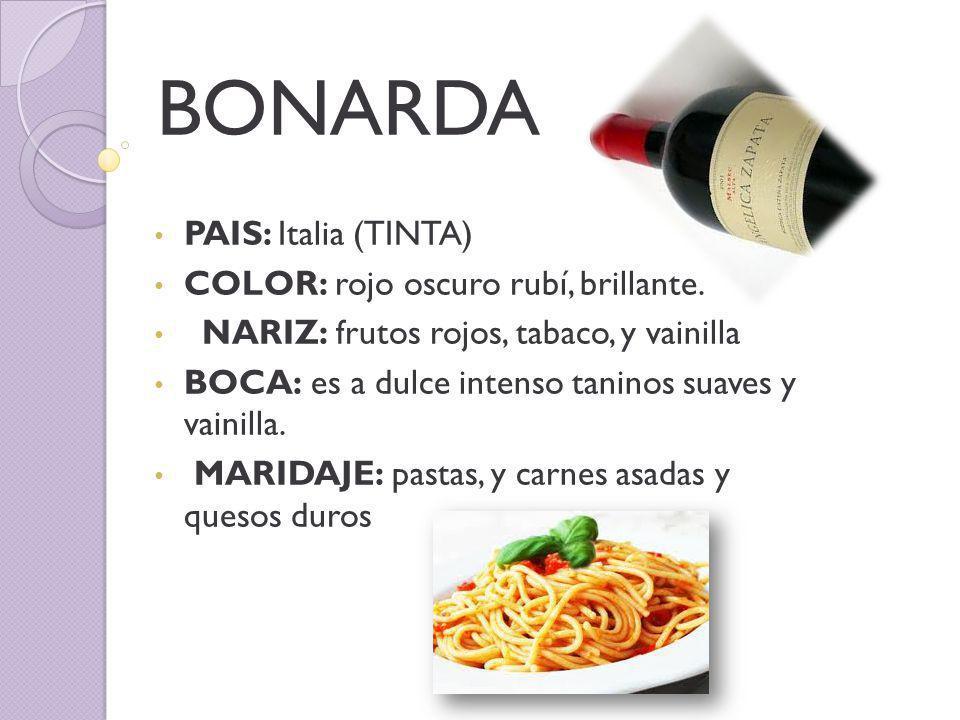 BONARDA PAIS: Italia (TINTA) COLOR: rojo oscuro rubí, brillante.