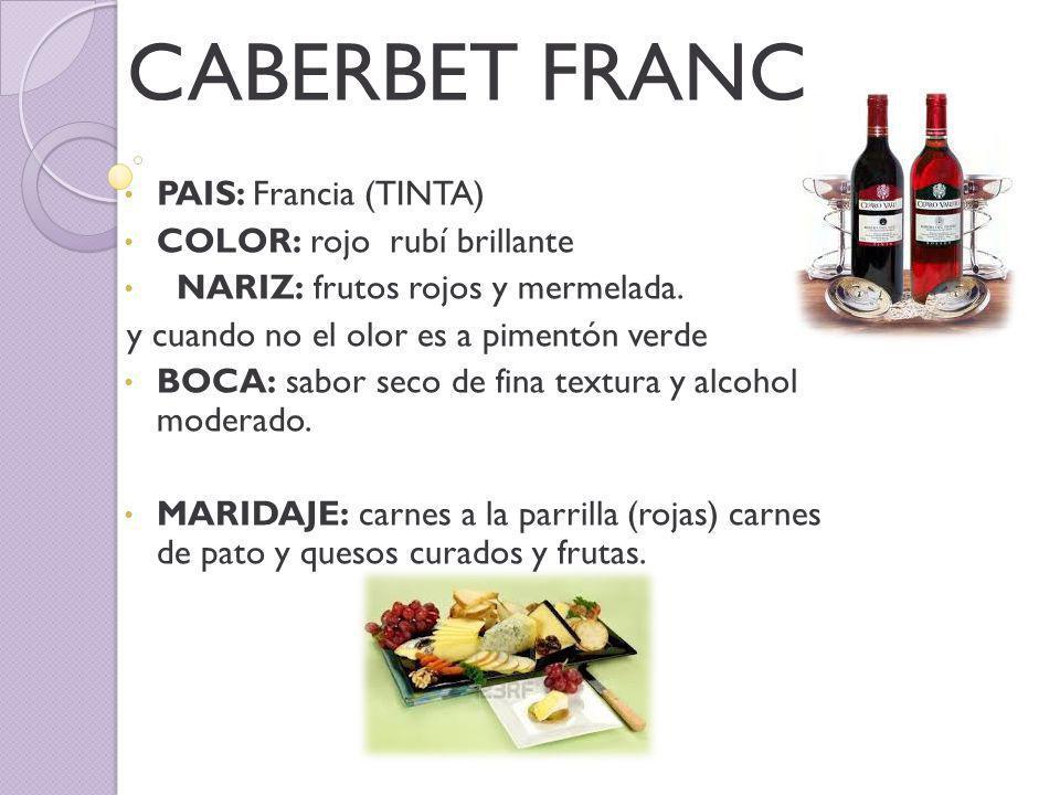 CABERBET FRANC PAIS: Francia (TINTA) COLOR: rojo rubí brillante