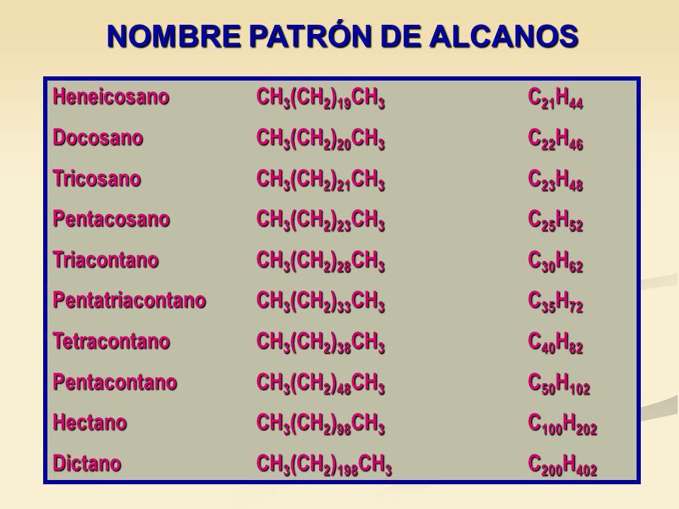 NOMBRE PATRÓN DE ALCANOS