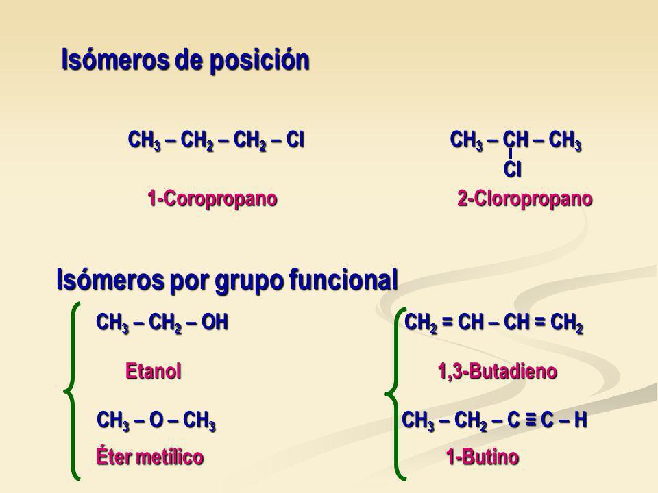 Isómeros por grupo funcional CH3 – CH2 – OH CH2 = CH – CH = CH2