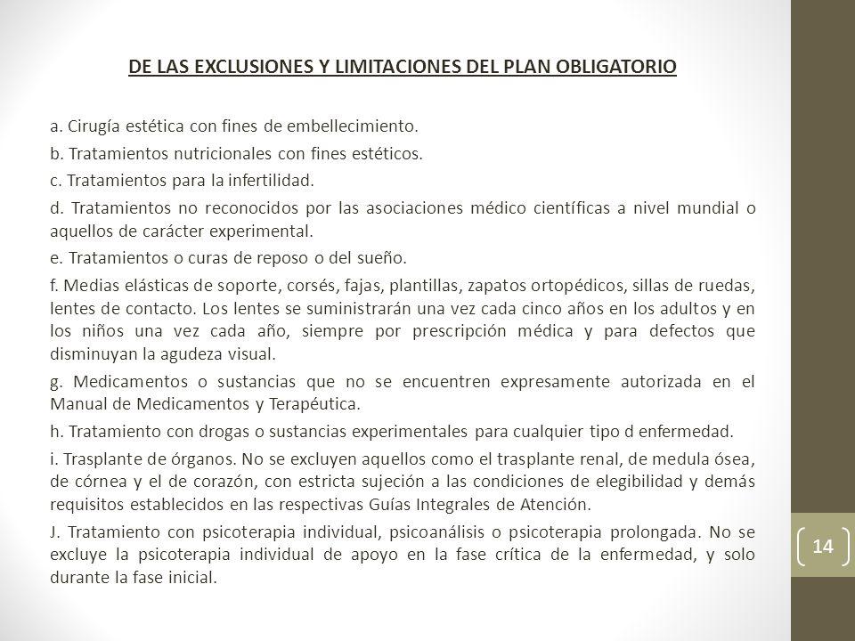 DE LAS EXCLUSIONES Y LIMITACIONES DEL PLAN OBLIGATORIO