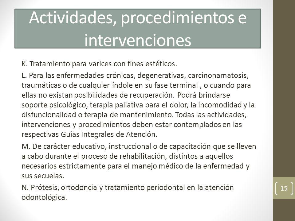 Actividades, procedimientos e intervenciones
