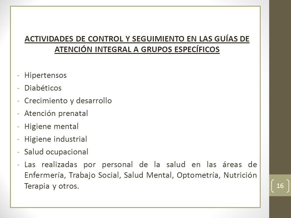 ACTIVIDADES DE CONTROL Y SEGUIMIENTO EN LAS GUÍAS DE ATENCIÓN INTEGRAL A GRUPOS ESPECÍFICOS