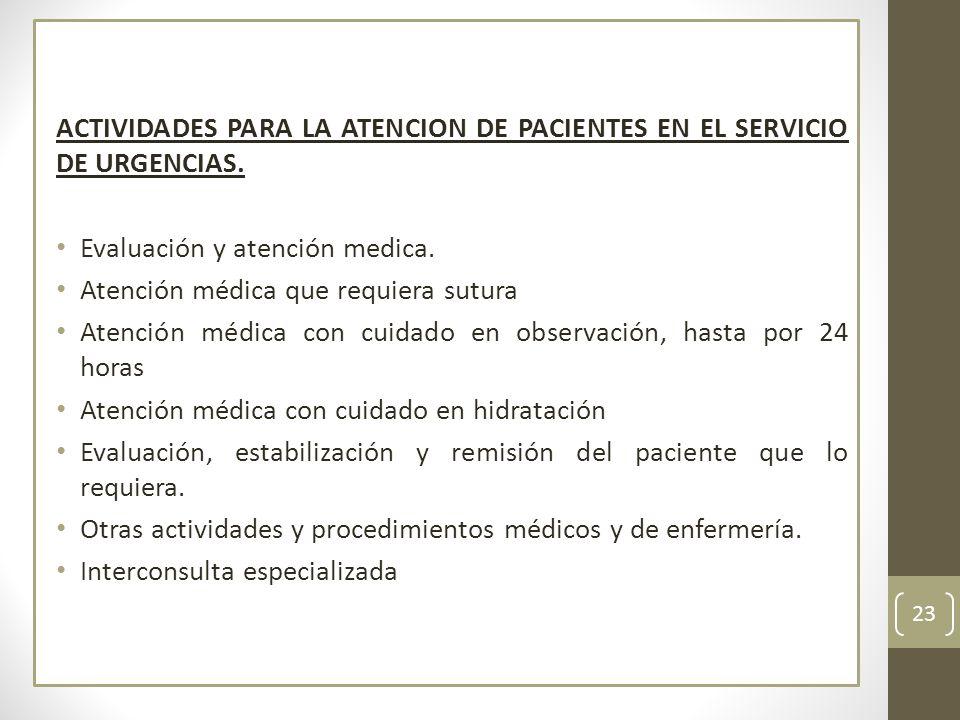 ACTIVIDADES PARA LA ATENCION DE PACIENTES EN EL SERVICIO DE URGENCIAS.