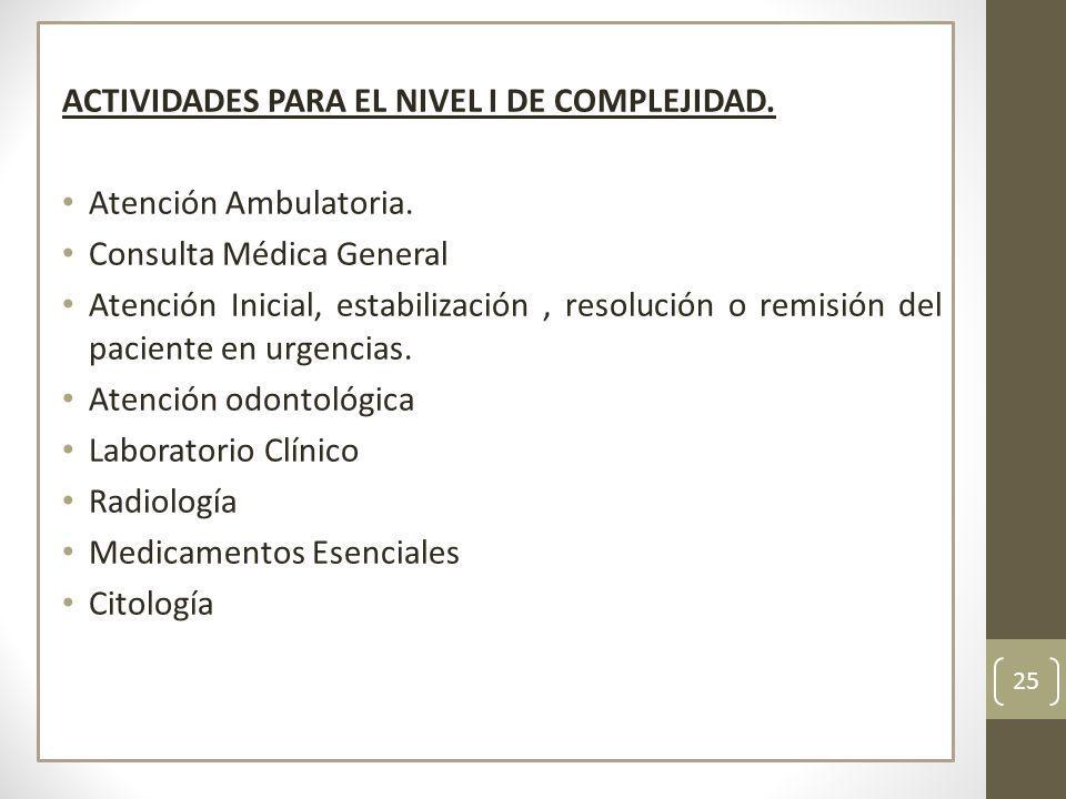 ACTIVIDADES PARA EL NIVEL I DE COMPLEJIDAD.