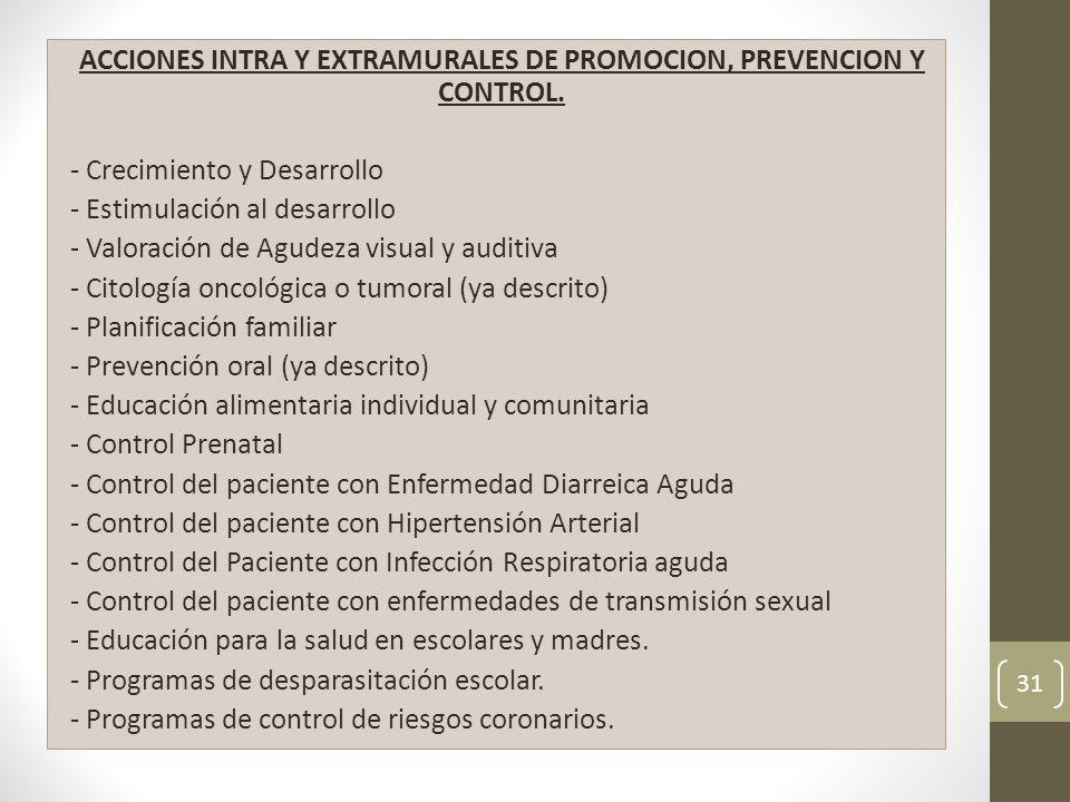 ACCIONES INTRA Y EXTRAMURALES DE PROMOCION, PREVENCION Y CONTROL.