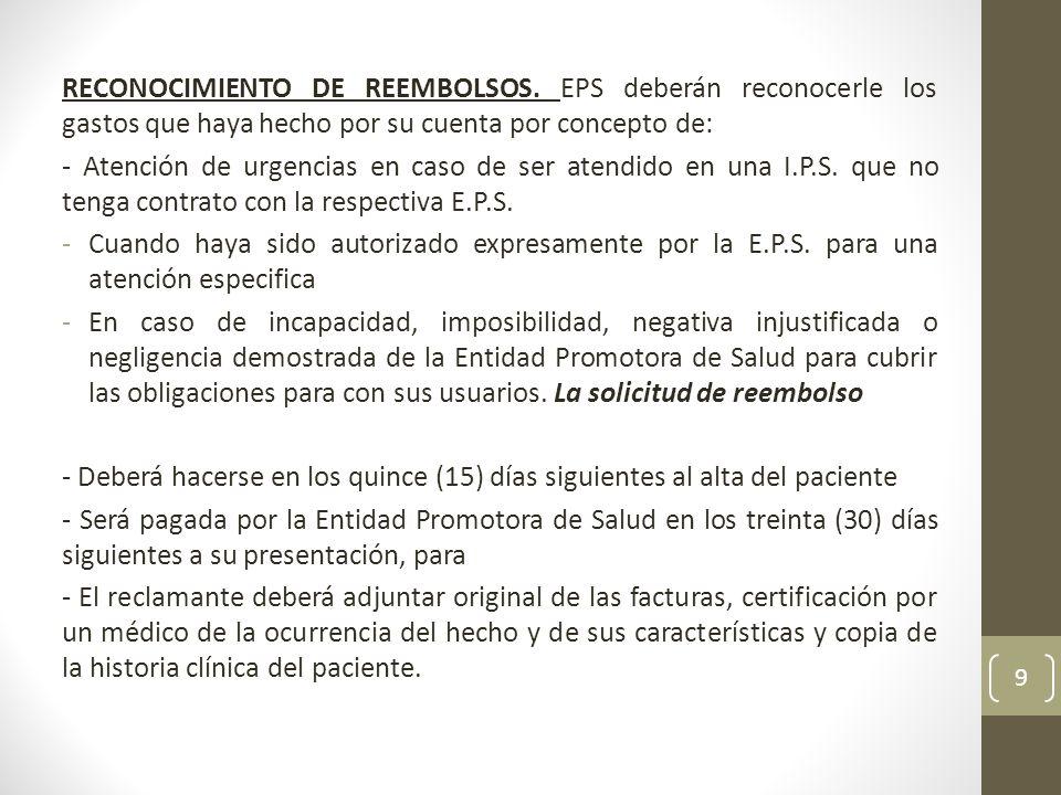 RECONOCIMIENTO DE REEMBOLSOS