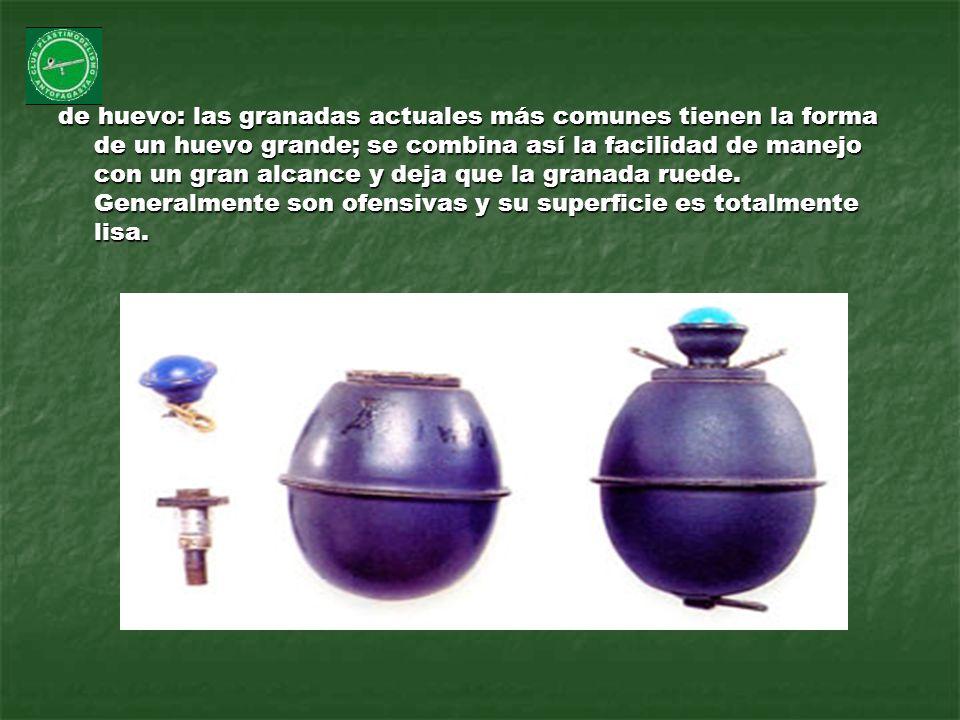 de huevo: las granadas actuales más comunes tienen la forma de un huevo grande; se combina así la facilidad de manejo con un gran alcance y deja que la granada ruede.