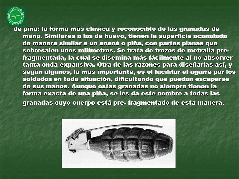 de piña: la forma más clásica y reconocible de las granadas de mano
