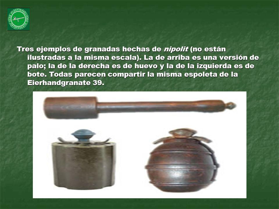 Tres ejemplos de granadas hechas de nipolit (no están ilustradas a la misma escala).