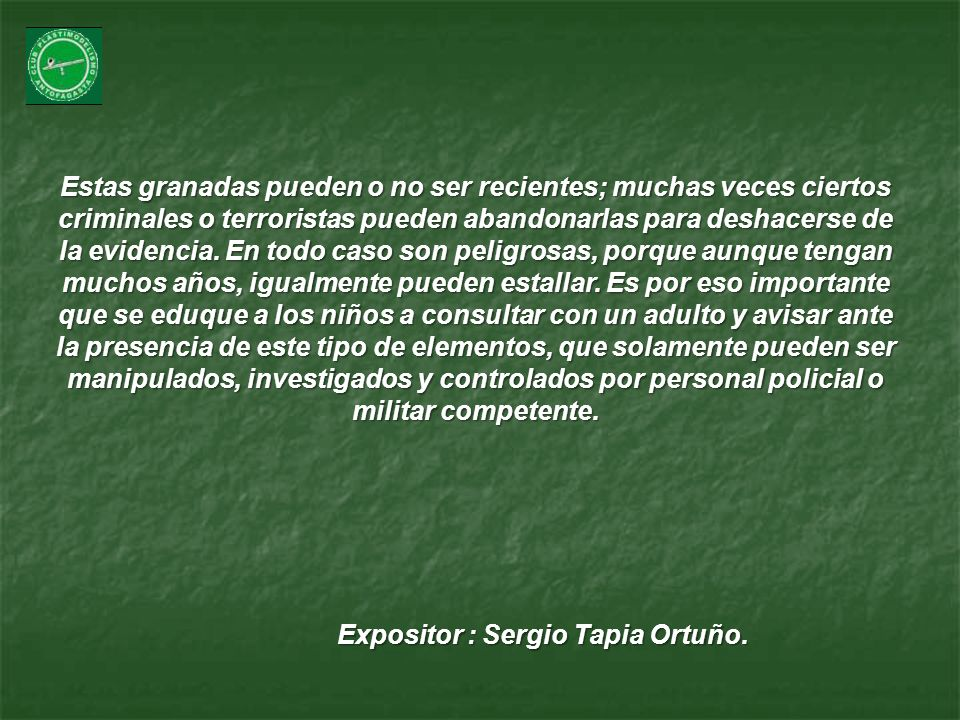 Expositor : Sergio Tapia Ortuño.