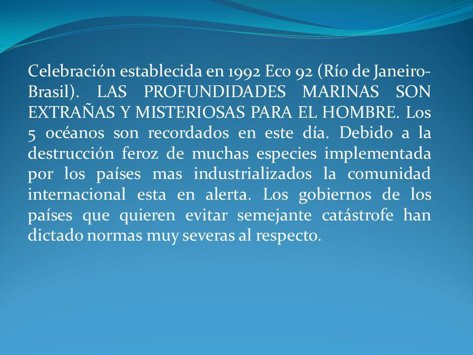 Celebración establecida en 1992 Eco 92 (Río de Janeiro- Brasil)