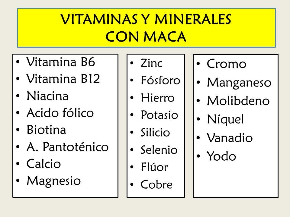 VITAMINAS Y MINERALES CON MACA