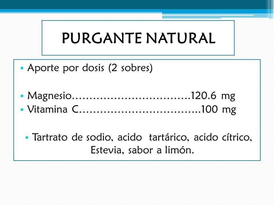 PURGANTE NATURAL Aporte por dosis (2 sobres)