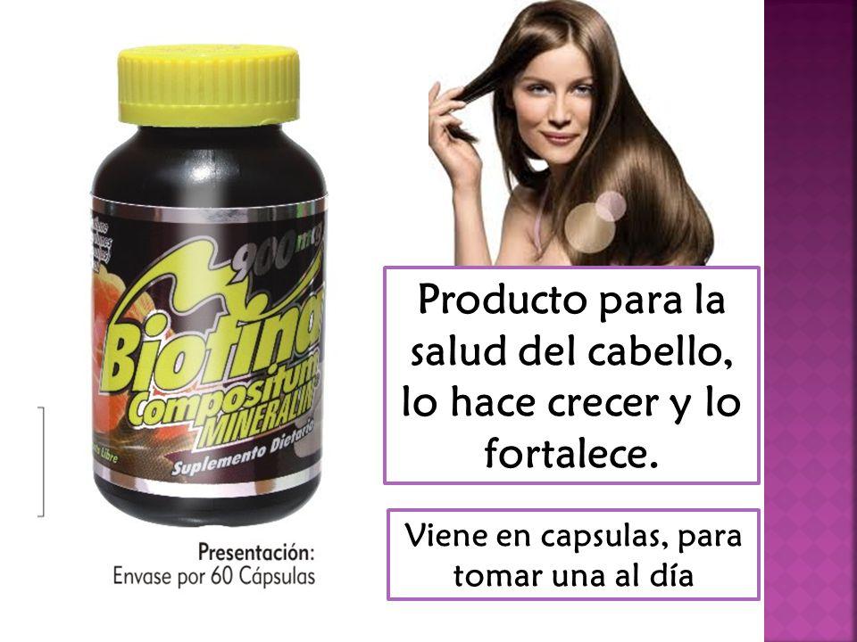 Producto para la salud del cabello, lo hace crecer y lo fortalece.