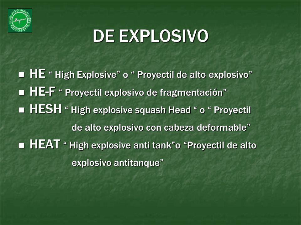 DE EXPLOSIVO HE High Explosive o Proyectil de alto explosivo
